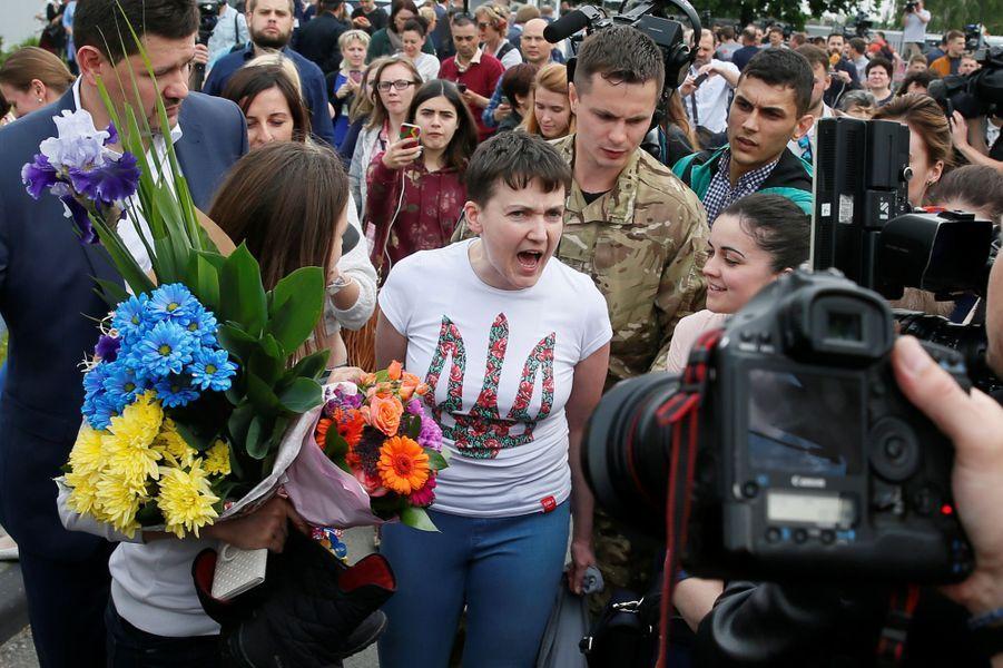 Le retour triomphal de Nadia Savtchenko à Kiev, le 25 mai 2016.