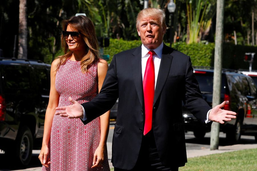 Donald et Melania Trump à Bethesda-by-the-Sea, le 1er avril 2018.