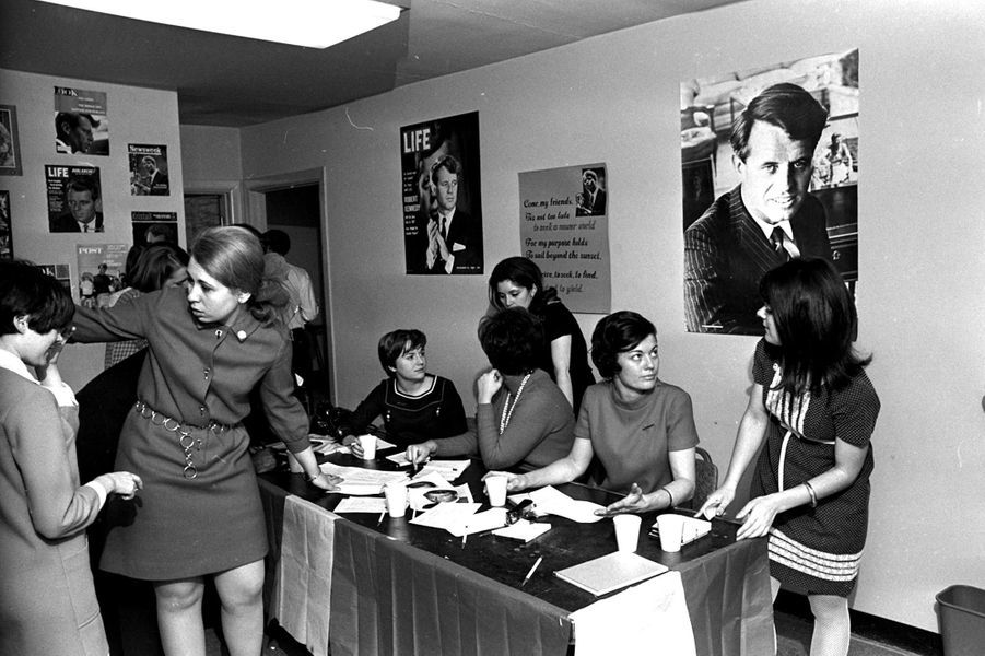 Dans le QG de campagne deRobert Kennedy à Washington, 18 mars 1968.