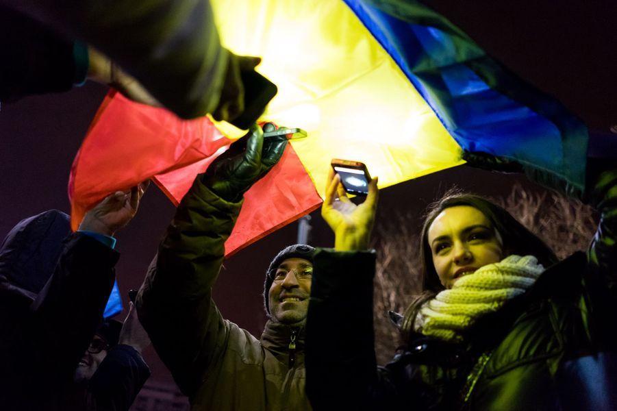 Manifestation contre le gouvernement roumain à Bucarest, le 12 février 2017.