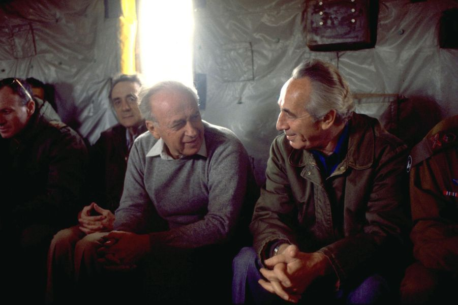 Yitzhak Rabin et Shimon Peres, le 8 novembre 1984.