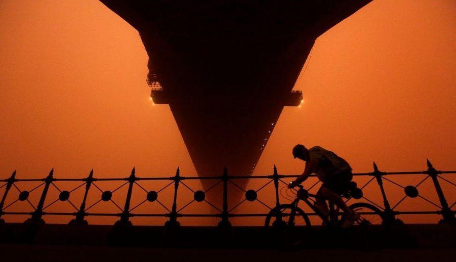 """Un cycliste, imperturbable, en pleine ballade sur le """"Sydney Harbour bridge""""."""