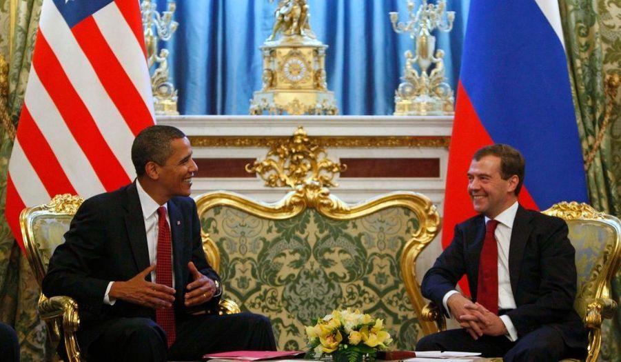 Barack Obama et Dmitri Medvedev s'entretiennent au Kremlin.