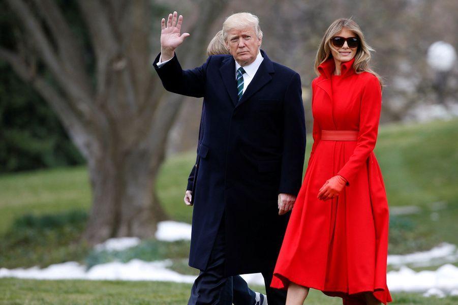 Donald Trump et Melania Trump quittant la Maison Blanche, le 17 mars 2017.