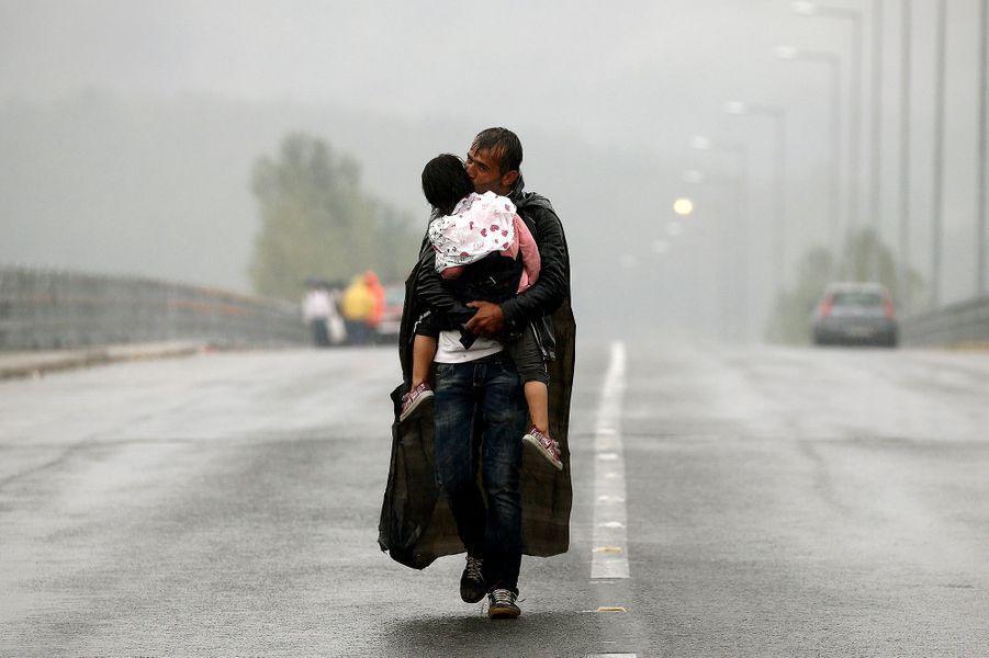 Photo prise à Idomeni, en Grèce, à la frontière de la Macédoine, le 10 septembre