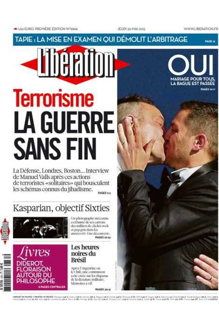 Le premier mariage gay de France à la Une