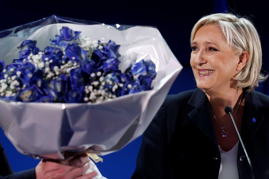 Marine Le Pen, dimanche soir à Henin-Beaumont.