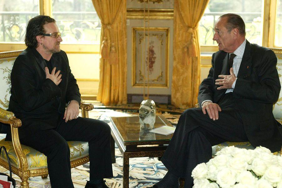 Rencontre à l'Elysée avec Jacques Chirac lors de la remise de la Légion d'honneur le 28 février 2003.