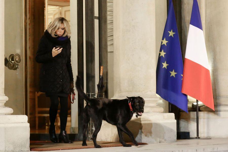 Brigitte Macron, lundi à l'Elysée, en promenade avec Nemo.
