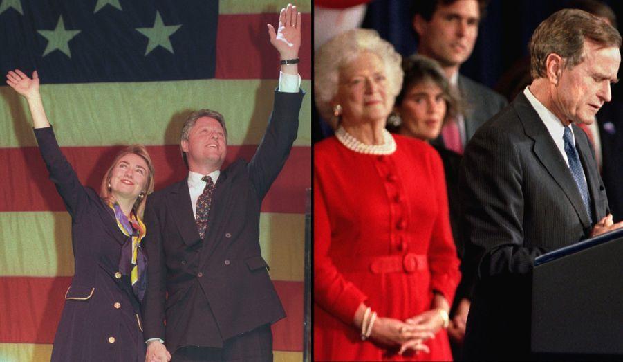 En 1992, George H.W. Bush achève son premier -et dernier- mandat. Il se représente et perd face à Bill Clinton. Barbara Bush, bien que native de New York, a suivi George Bush au Texas après leur mariage en 1945, afin qu'il se lance dans une carrière politique. Elle a élevé leurs six enfants: George, Pauline, Jeb, Neil, Marvin et Dorothy. Elle a pris sa retraite au moment de quitter la Maison Blanche, elle avait alors 67 ans. Avant d'être First lady, elle a été Second lady, puisque George H.W. Bush a été Vice-président de 1981 à 1989.