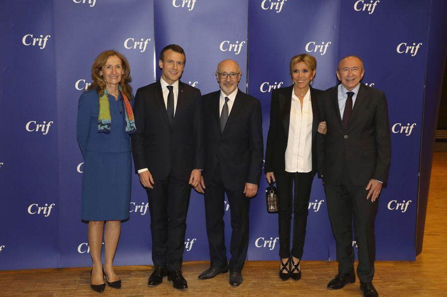 Nicole Belloubet (Justice) Emmanuel Macron, Francis Kalifat (président du Crif), Brigitte Macron et Gérard Collomb (Intérieur).