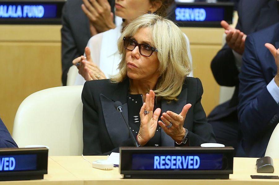Brigitte Macron assiste au débat «Education pour tous» au siège des Nations Unies à New York.