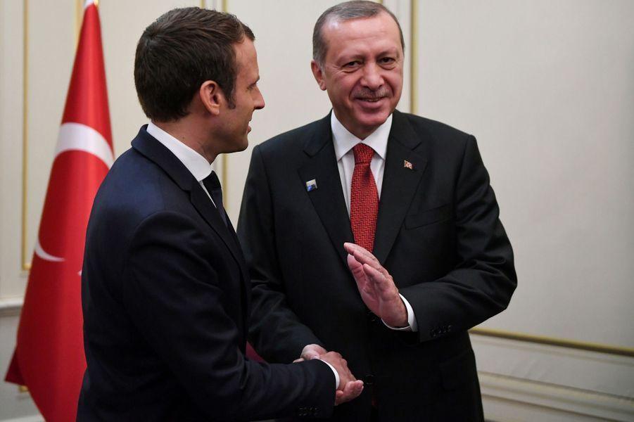 Emmanuel Macron et Recep Tayyip Erdoganà Bruxelles jeudi.