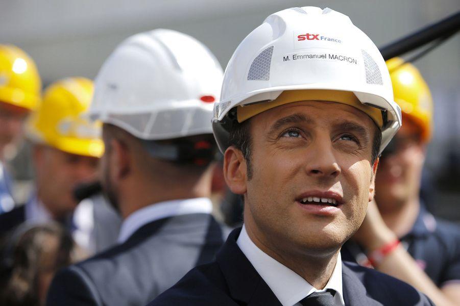 Emmanuel Macron au chantier naval de Saint-Nazaire mercredi
