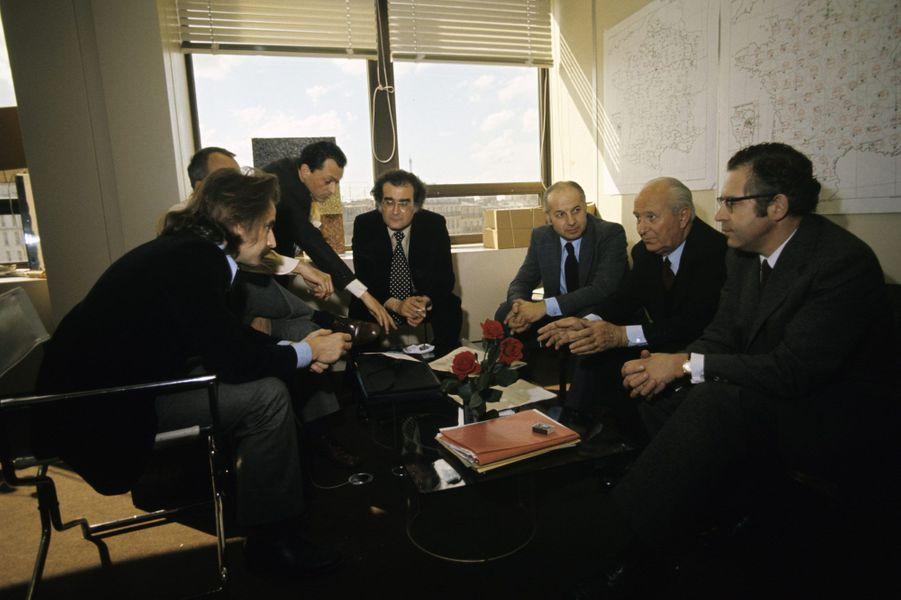 Mai 1974 : debout au fond, avec l'équipe de campagne de Mitterrand