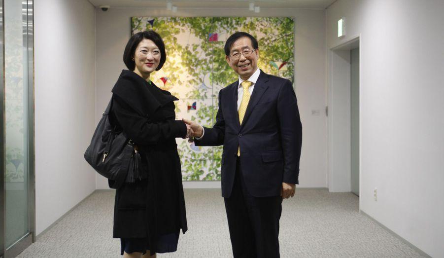 Rencontre avec le maire de Séoul M. Park Won-Soon, à l'hôtel de ville.