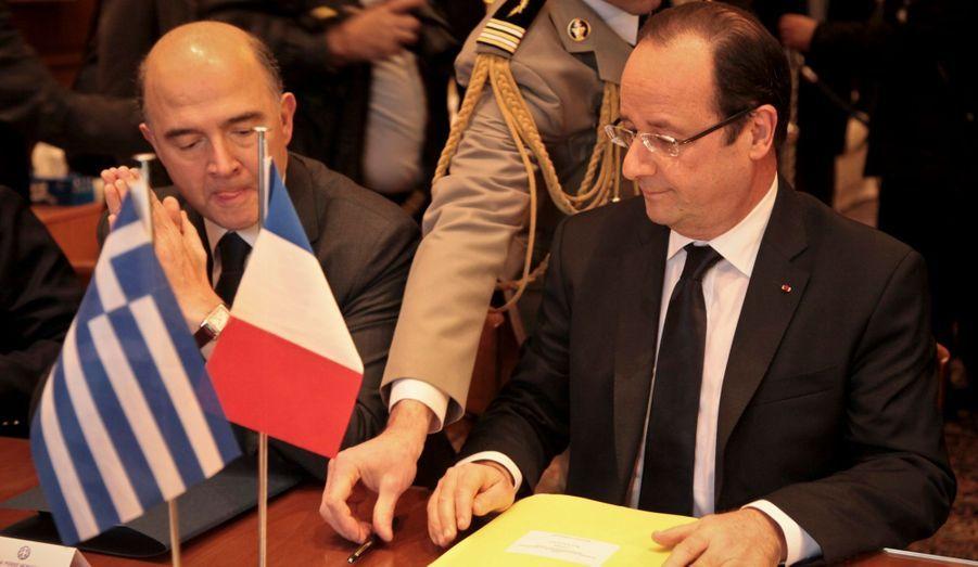 Avec le ministre de l'Economie et des Finances Pierre Moscovici