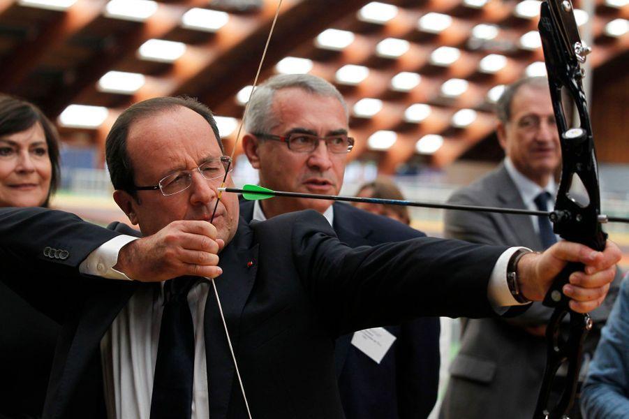 Le 16 juillet 2012, visite aux sportifs de l'Insep, à Paris