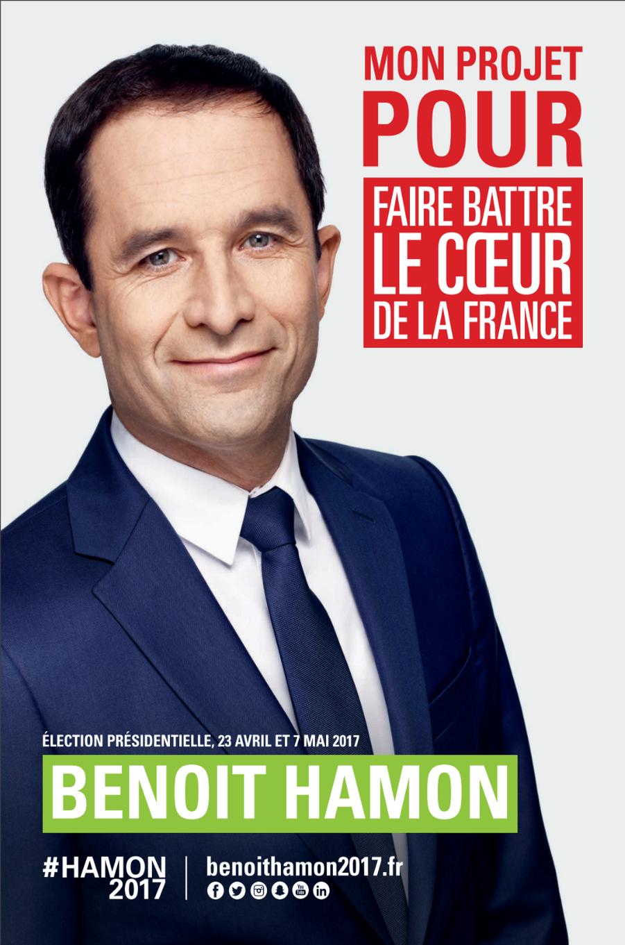 Costume et cravate bleu marine, sourire rassurant pour Benoît Hamon. Et pour mettre en valeur son slogan, «Faire battre le coeur de la France», le candidat du Parti socialiste n'hésite pas à emprunter le rouge vif aux communistes.