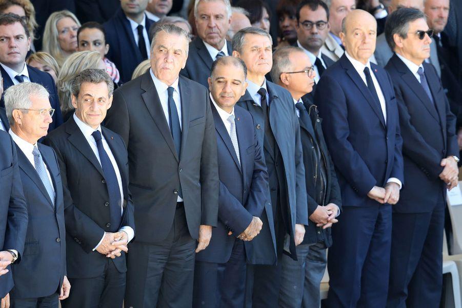 Claude Bartolone, Nicolas Sarkozy et Alain Juppé à l'hommage rendu aux 86 victimes de l'attentat de Nice, le 15 octobre 2016.