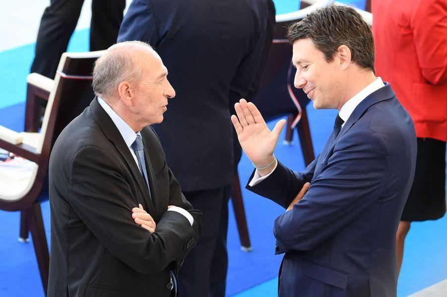 Gérard Collomb et Benjamin Griveauxà Paris, le 14 juillet 2017.