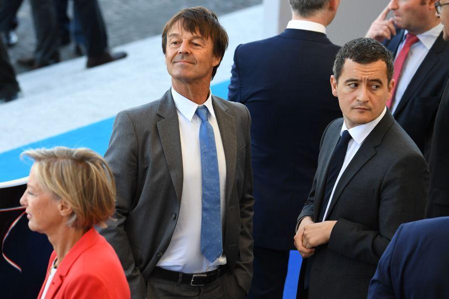 Nicolas Hulot et Gérald Darmaninà Paris, le 14 juillet 2017.