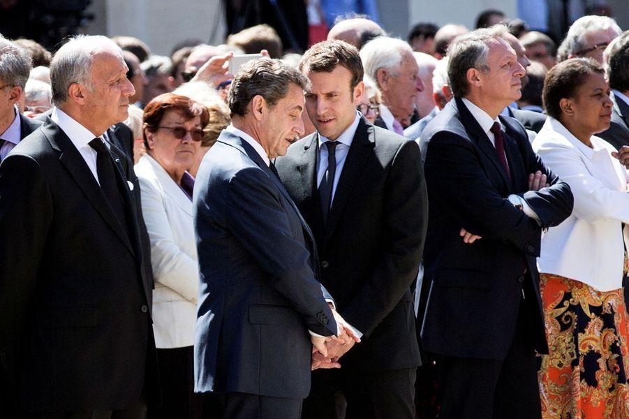 Nicolas Sarkozy et Emmanuel Macron aux Invalides, pour l'hommage national rendu à Michel Rocard.
