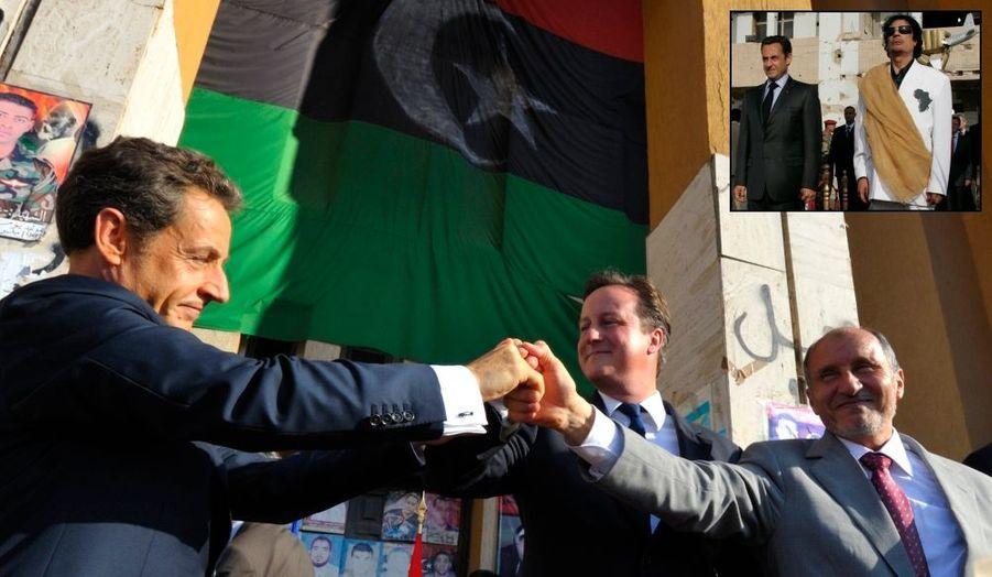Le 19 mars, la France, avec ses alliés, lance la guerre aérienne en Libye, où se poursuit le printemps arabe. Le 20 octobre, Mouammar Kadhafi (que Nicolas Sarkozy avait rencontré plusieurs fois au début de son mandat, créant la polémique - photo à Tripoli en 2007 en médaillon) est tué par les rebelles libyens, ce qui signe la victoire de ces derniers (photo)