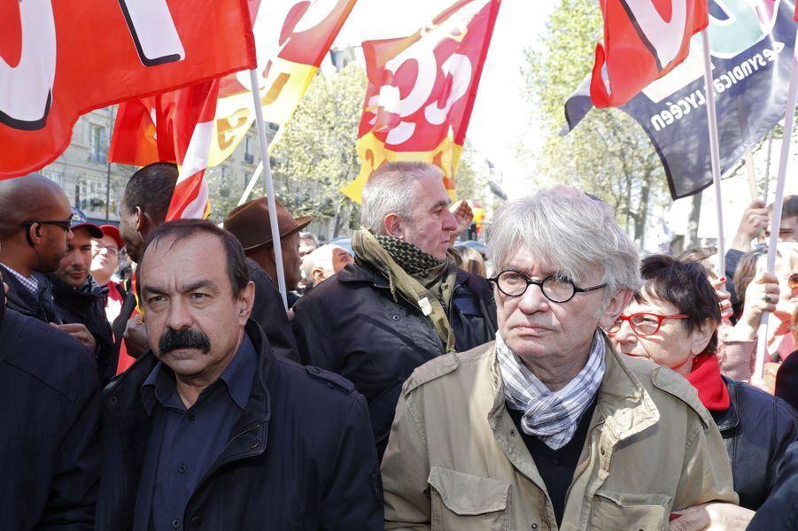 Philippe Martinez et Jean-Claude Mailly au défilé du 1er mai à Paris.