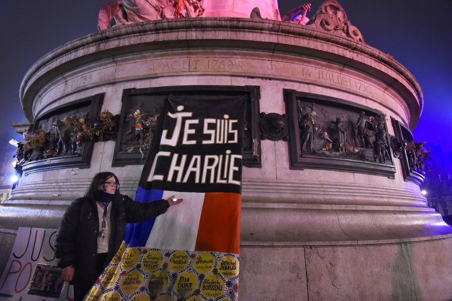 Rassemblement à Paris, deux ans après les attentats contre «Charlie Hebdo» et l'Hyper Cacher, le 7 janvier 2017.