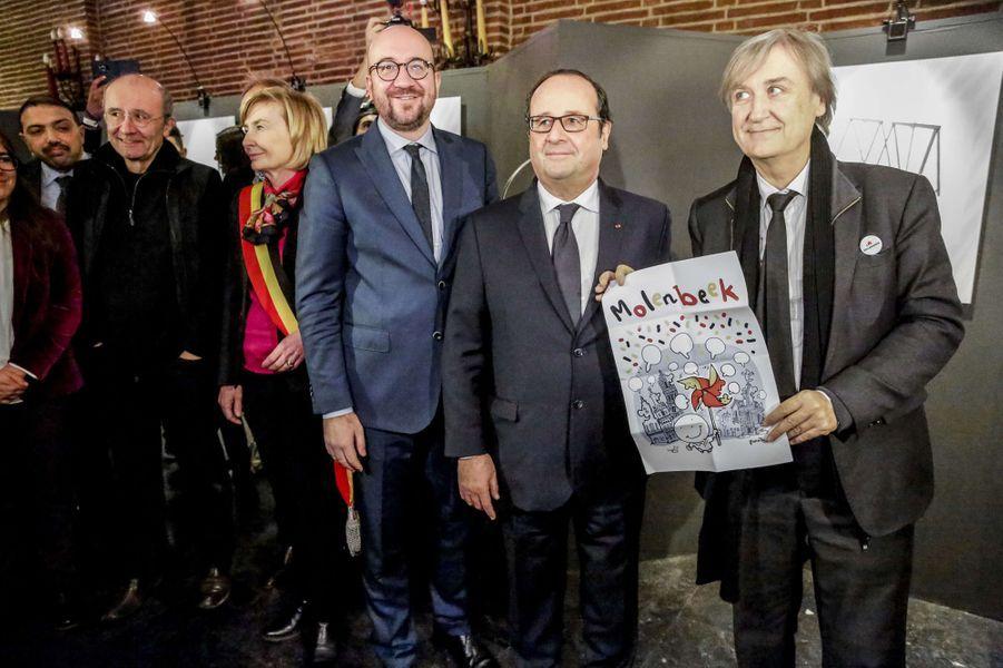 Charles Michel, François Hollande et Plantu le 20 novembre 2017 à Molenbeek