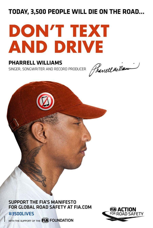 Pharell Williams pour la campagne pour la sécurité routière lancée le 10 mars à Paris par la FIA (Fédération internationale de l'automobile) et JC Decaux