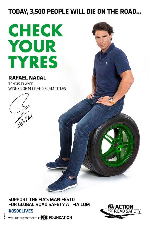 Rafael Nadal pour la campagne pour la sécurité routière lancée le 10 mars à Paris par la FIA (Fédération internationale de l'automobile) et JC Decaux