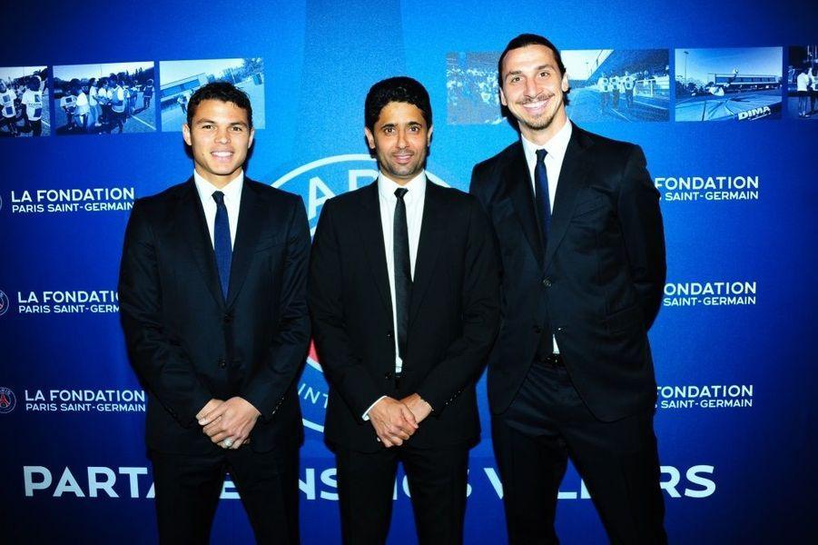 Thiago Silva, le capitaine du club, le président Nasser Al-Khelaifi et Zlatan Ibrahimovic
