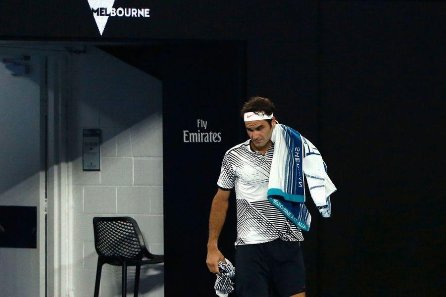 Roger Federer après le break médical