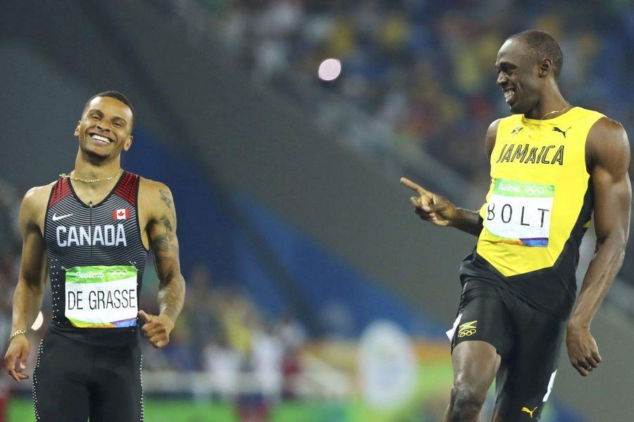 """JO 2016 : La course """"entre potes"""" de Usain Bolt et Andre de Grasse"""