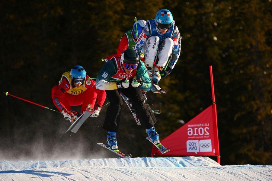 Epreuve de ski cross messieurs, lorsdes Jeux de la jeunesse disputés à Lillehammer.