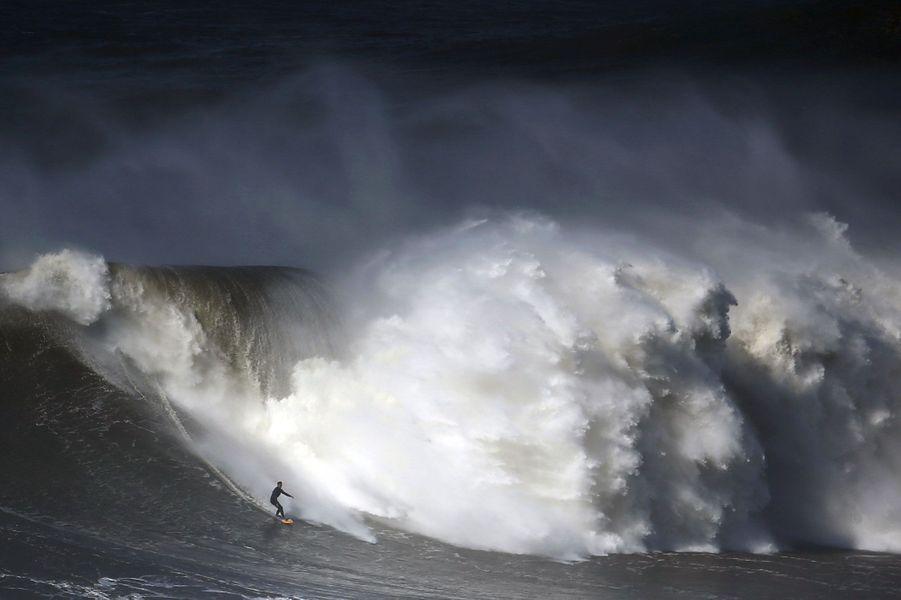 Coulisses, à-côtés, images surprenantes, Paris Match vous propose de découvrir le meilleur de l'actualité sportive de la semaine du 15 au 21 février 2016.Ici, un surfeur défie une large vague à Nazaré, dans le centre du Portugal, un spot connu pouraccueillirdes vagues géantes.