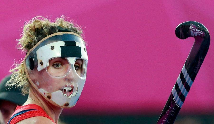 Ceci n'est pas une image d'un film d'horreur mais le masque de Ashleigh Ball, gardienne de l'équipe britannique de hockey sur gazon.