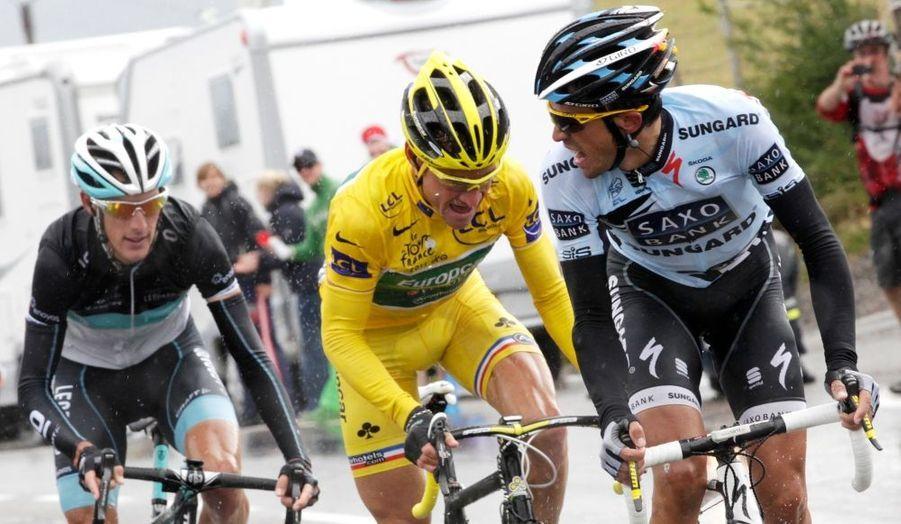Thomas Voeckler a surpris en montagne, en résistant aux meilleurs grimpeurs de l'épreuve, Andy Schleck et Alberto Contador.
