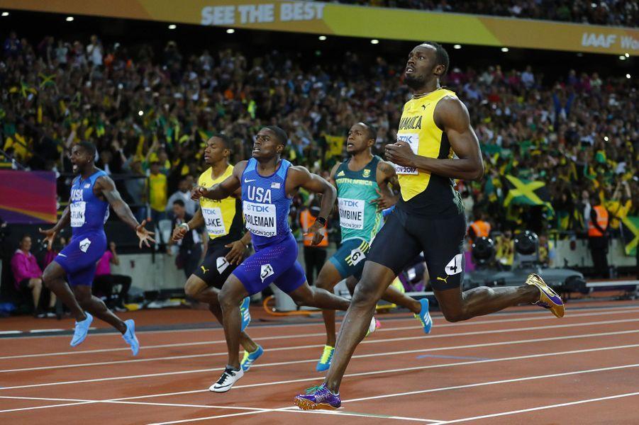 Usain Bolt a couru samedi le dernier 100 mètres de sa carrière aux championnats d'athlétisme de Londres