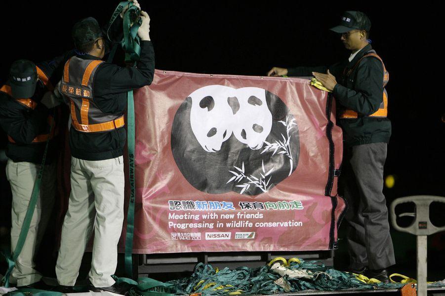 Les pandas Tuan Tuan et Yuan Yuan quittent la Chine pour Taïwan, le 23 décembre 2008.