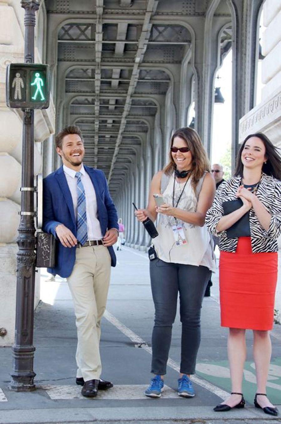 """Scott Cilfton, Ashleigh Brewer et Cindy Popp à Paris pour le tournage de la série """"Amour, gloire et beauté"""", le 16 juin 2014"""
