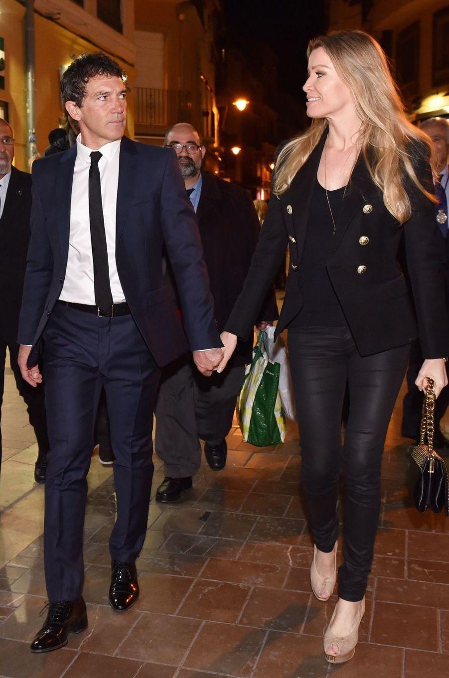 Antonio Banderas et Nicole Kimpel, le 20 mars 2016 à Malaga