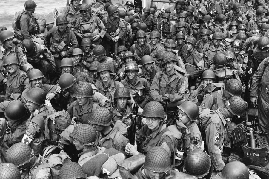 Des soldats Américains lors de la traversée de la Manche