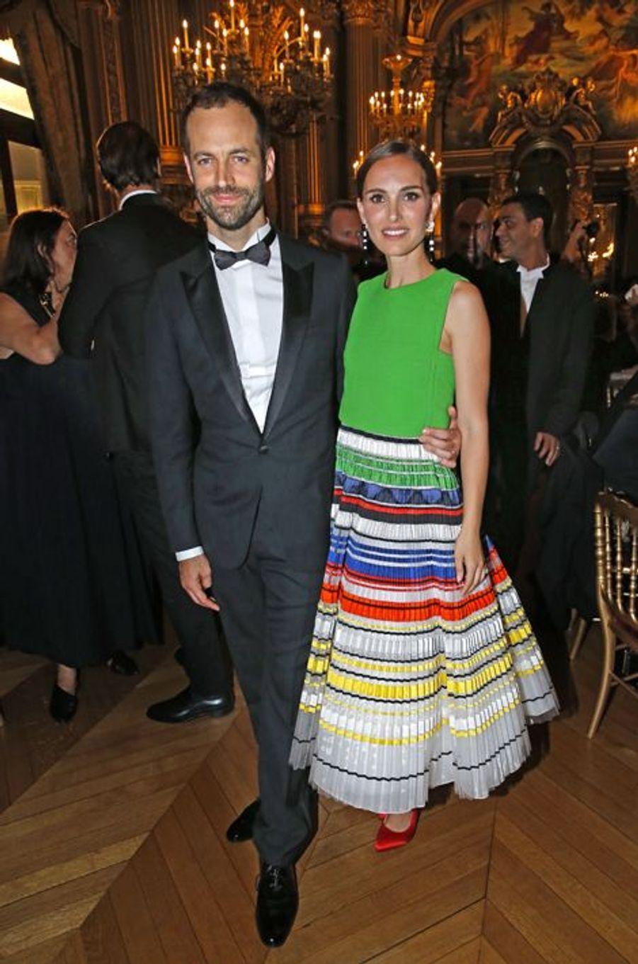 Benjamin Millepied et sa femme Natalie Portman lors du Gala d'ouverture de la nouvelle saison de l'Opéra de Paris, le 24 septembre 2015
