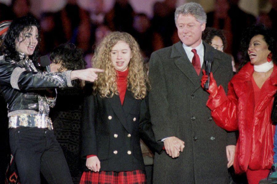 Avec Michael Jackson et Diana Ross, en janvier 1993