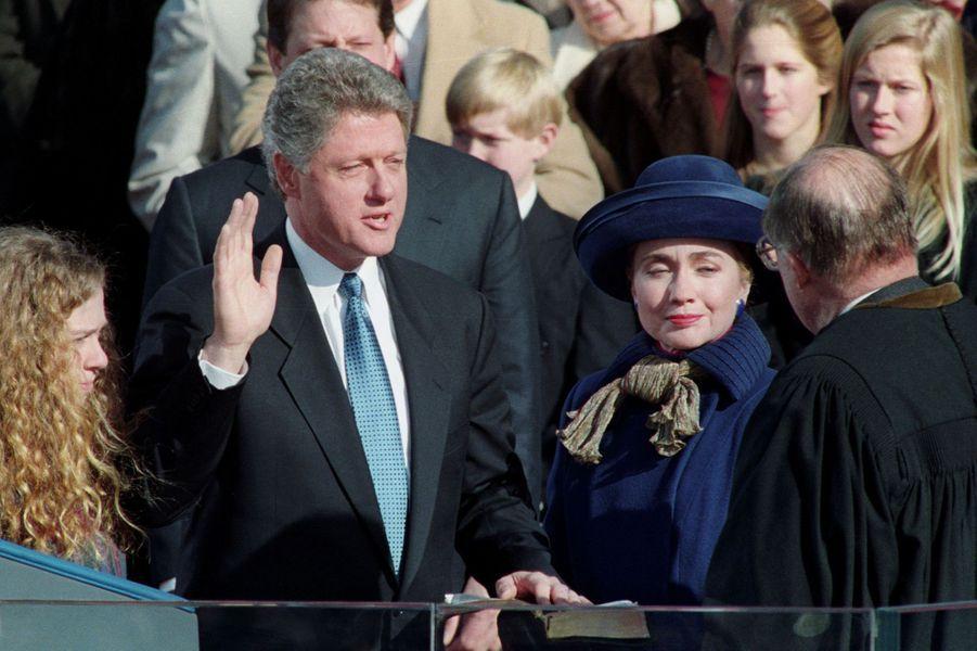 Bill Clinton prête serment, en janvier 1993