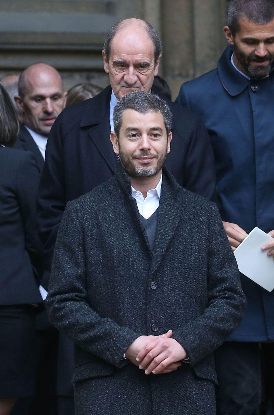 Pierre Lescure et Ali Baddou aux obsèques d'André Rousselet, juin 2016