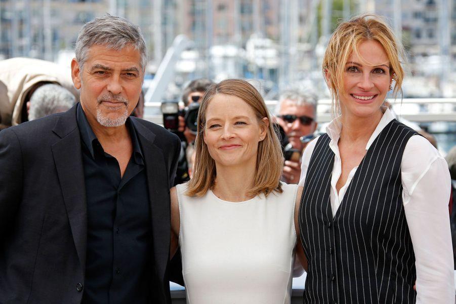 George Clooney, Jodie Foster et Julia Roberts à Cannes pour le film Money Monster